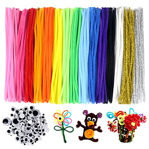 Acerich 4336856210 300PCS HEHALI 800pcs Set,Including 350pcs Poms,250pcs 10 Colors Pipe Cleaners and 200pcs Wiggle Googly Eyes for Craft DIY Art Supplies