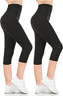 Womens Black High Waisted Leggings Pack Soft Slim Tummy...