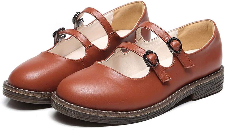 DANDANJIE Damen Mary Jane Student literarische Retro Flache Schuhe Double Schnalle Mode Schuhe Herbst (Farbe   Braun, Größe   36 EU)
