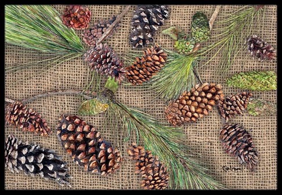 旅行ロッカートランスペアレントCaroline 's Treasures黄麻布and Pine Cones屋内または屋外マット、18?