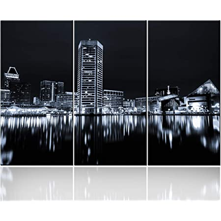 Baltimore Md Skyline Blue By Michael Tompsett 22x32 Inch Canvas Wall Art Posters Prints