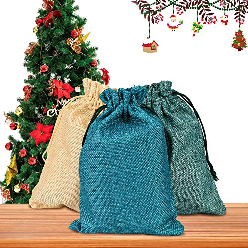 Vegena 30 Stücke Jutesäckchen, Jutebeutel Stoffbeutel 13cm x 18cm Natur Säckchen Geschenksäckchen zum Befüllen für Adventskalender Schmuck Hochzeit Party Feiern Weihnachten DIY Handwerk(3 Farben)
