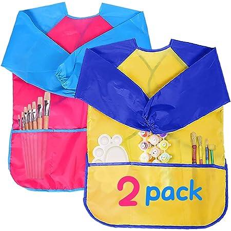 OMZGXGOD 3 PCS Grembiule per Bambini 2-8 Anni Bambini Art Pittura Grembiule Impermeabile con Maniche con Chiusura in Velcro per Artigianato Arte Pittura attivit/à in Classe Eventi