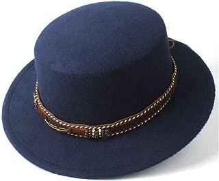 Bin Zhang Women Men Flat Top Fedora Hat With Wide Brim Church Hat Outdoor Travel Fascinator Hat Pork Pie Casual Wild Hat Size 56-58CM