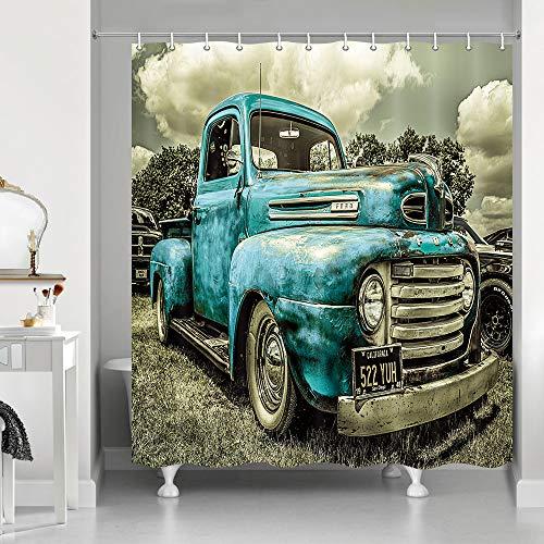 NYMB Antike Auto-Duschvorhänge, Custom Vintage Old Truck Car Decor, Polyester Stoff Blau Rustikal Auto Duschvorhang-Set Fantastische Dekorationen Badvorhang, 174 x 178 cm