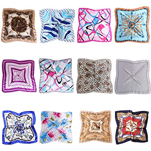 NUWEERIR 12pc Womens Small Square Scarf Set Mixed Hair Band Silk Feeling Satin Hair Wrapping