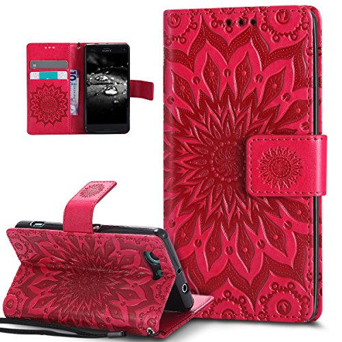 Kompatibel mit Sony Xperia Z3 Compact Hülle,Prägung Mandala Blumen Sonnenblume Muster PU Lederhülle Flip Hülle Cover Schale Ständer Etui Wallet Tasche Hülle Schutzhülle für Sony Xperia Z3 Compact,Rot
