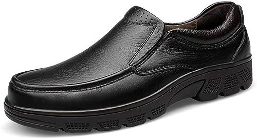 Qiusa Chaussures de de Marche à Bout Rond Confortables et Confortables pour Hommes (Couleuré   Noir, Taille   7.5 UK)  garantie de crédit
