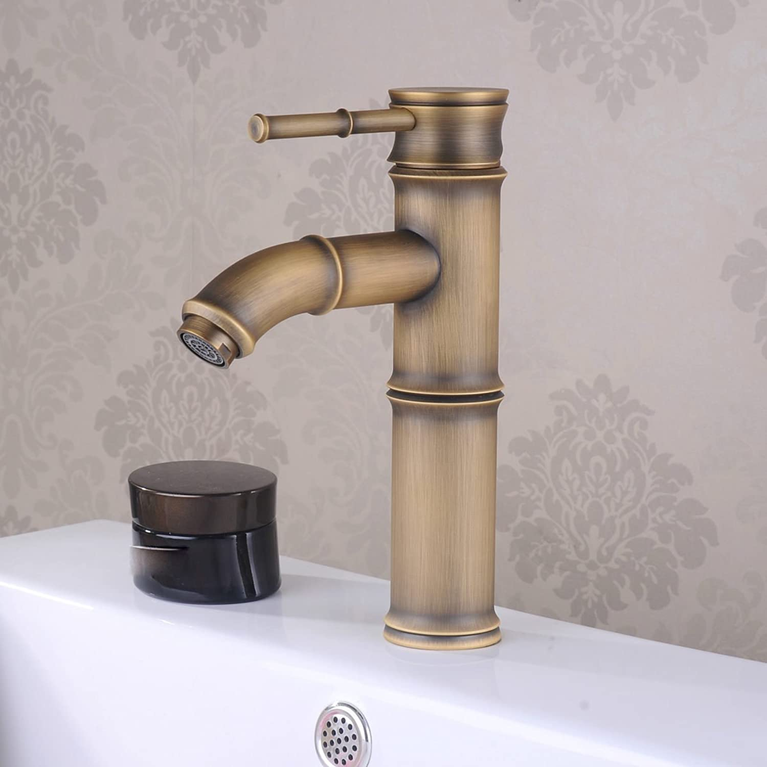 LDONGSH Retro Kitchen Hot And Cold Copper Bamboo European Style American Style Satin Finish Wash Basin Faucet