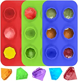 LUCKSTAR 11 Diamond Cube Tray-3 Pack Silicone Make Mold-3D Jelly & Candy & Chocolate & Coffee & Whisky Freeze Ice Molds (Red&Blue&Green)