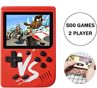 Kalolary Retro FC Handheld Game Console 500 Classic Games, 3 Inch Screen Support TV Video Game Player & 1 Joystick Controller, Birthday Presents for Kids to Adult (Red)