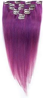 HOHYLLYA 7個24インチ本物の人間の髪の毛のクリップ - #lilaブライトパープルカラーヘアエクステンションロールプレイングかつら女性のかつら (色 : #lila)