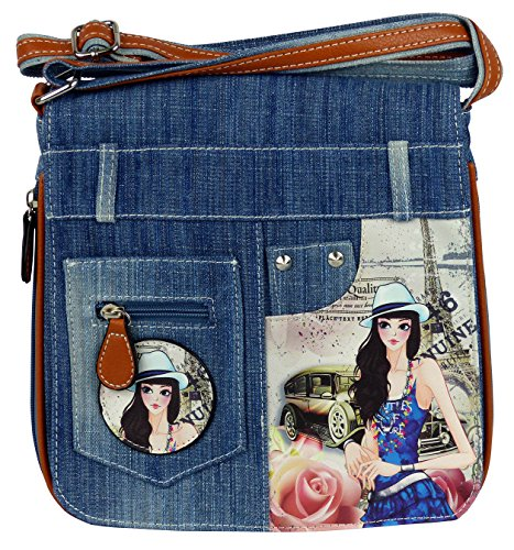 yourlifeyourstyle Jeans Look Umhängetasche mit Print auf Kunstleder oder aufgenähten Patches, Nieten - Maße ohne Riemen 25 x 26 cm - Damen Mädchen Teenager Tasche - Jeanshosen Bund (Paris Mäd.)
