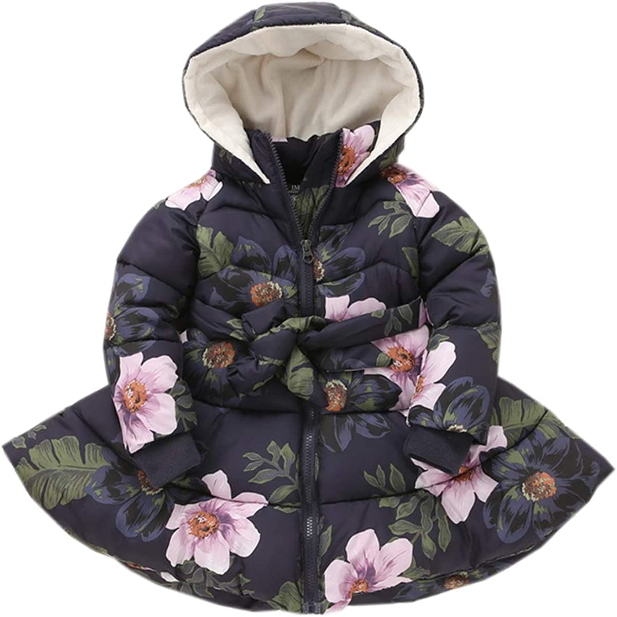DAIMIDY Girls' Flower Print Bowknot Winter Jacket Hooded New sales Superior Coat 2