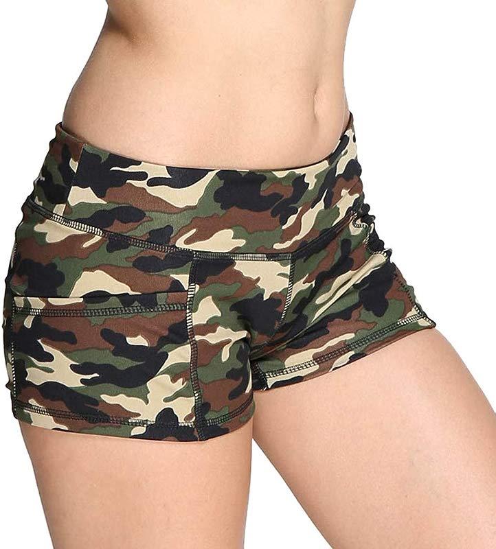 MALLOOM Hot Women Short Pants Camouflage Print Sports High Waist Hot Pink Yellow Green Beige S XL