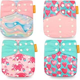 HahaGo 4PCS Baby Cloth Diaper Washable Reusable Diapers Insert All-in-One Pocket Nappy for Most Babies and Toddlers