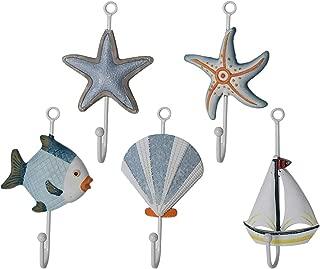 Vosarea 5pcs Single Coat Hooks Wall Mounted Decorative Fish Sea Star Shell Sailboat Coat Hanger Nautical Beach Theme Home Decor