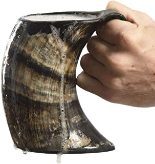 AleHorn Drinking Horn Tankard with Handle- L – Genuine Handcrafted Beer Mug for..