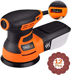 TACKLIFE 5-Inch Random Orbit Sander 3.0A with 12Pcs Sandpapers, 6 Variable Speed 13000RPM..