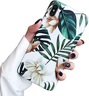 Cozosun iPhone Xs/X Case for Girls, Green Leaves with White & Brown Flowers Pattern Design,(Adopted Slim Fit Clear Bumper Soft TPU Full-Body Protective Cover Case) for iPhone Xs/X 5.8-Flowers & Leaves