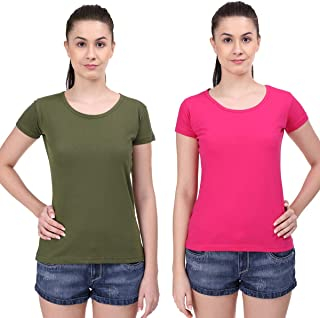 STATUS MANTRA Women's Cotton Half Sleeve Combo Pack Plain T-Shirt/Tees