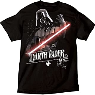 Star Wars Darth Vader & Lightsaber Mens T Shirt Top- Black