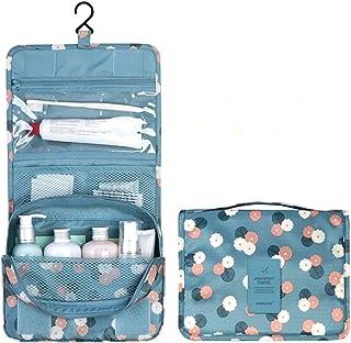 Danakan オックスフォード布ハンギングウォッシュバッグフック付き化粧品バッグケーストイレタリーオーガナイザーストレージ (色 : Blue flowers)