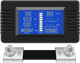 DC Multifunction Battery Monitor Meter,0-200V,0-100A (Widely Applied to 12V/24V/48V RV/Car Battery) LCD Display Digital Current Voltage Solar Power Meter Multimeter Ammeter Voltmeter