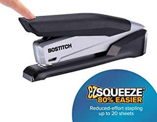 Bostitch Office Executive Stapler - 3 in 1 Stapler - One Finger, No Effort, Spring Powered Stapler, Black/Gray (INP20)