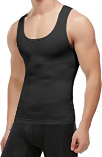 KIWI RATA Seamless Compression Shirt Slimming Body Shaper Vest for Mens Workout Tank Tops Chest Tummy Control Undershirts