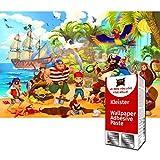 GREAT ART XXL Papel pintado fotográfico - piratas 336 x 238 cm - decoración mural habitación infantil aventura barco isla niños ilustración cómico - 8 Piezas incluye Pasta para pegar