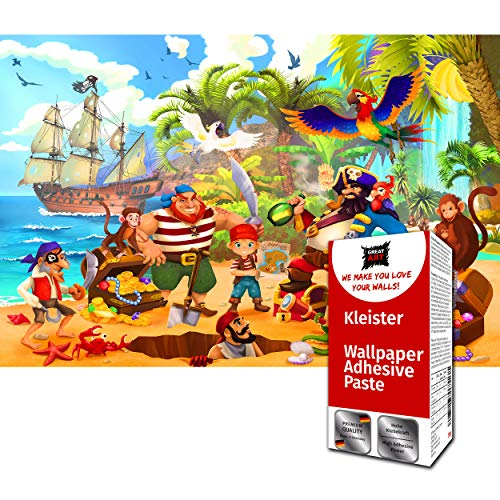 GREAT ART XXL Fototapete – Piraten 336 x 238 cm – Wandbild Dekoration Kinderzimmer Abenteuer Piratenschiff Kinder Illustration Comic Tapete – 8 Teile Tapete inklusive Kleister