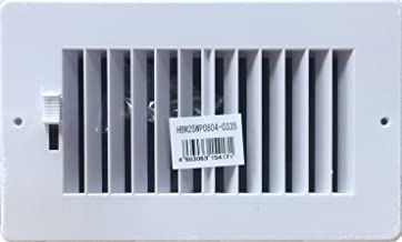 "Two-way plastic side wall/ceiling register in white 8""w X 4""h for duct opening (outside dimension is 10""w X 6""h)"