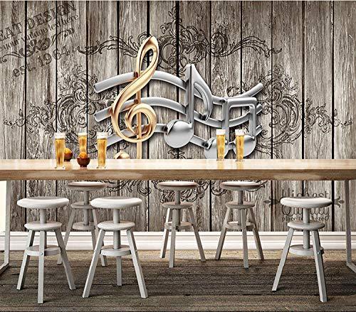 WLPBH Muursticker 3D Nostalgie muziek retro noot houten plank van papier voor meisjes en jongens 250x175 cm (LxA) 5 strisce - autoadesive