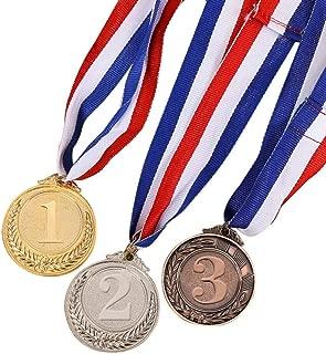 STOBOK Medalla de Metal récompensant el Estilo olímpico de Cinta en Plata Dorado Les Sportifs se Otro competición de 5cm de diámetro–5cm de Trigo (Oro * 1+ Plata * 1+ Bronce * 1)
