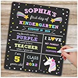 First Day of School Board - First Day of School Sign - Unicorn Themed 1st Day of Kindergarten Preschool Prek Chalkboard Photo Prop - Back to School Gifts for Kids Girls- Reusable Erasable 12 x 16 inch