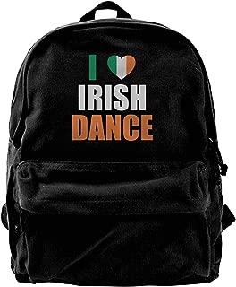 I Love Irish Dance Unisex Vintage Canvas Backpack Travel Rucksack Laptop Bag