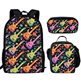 HUGS IDEA - Mochila de 15 pulgadas para escuela primaria media con bolsa de almuerzo y estuches para lápices guitarra 15 inch (3PCS Set)