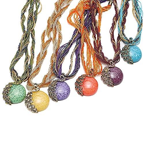 Collar de estilo bohemio, cadena de aleación + resina + cuentas de arroz europeas y americanas retro pavo real gemas para mujer collar de cuentas de arroz para decoración de fiesta