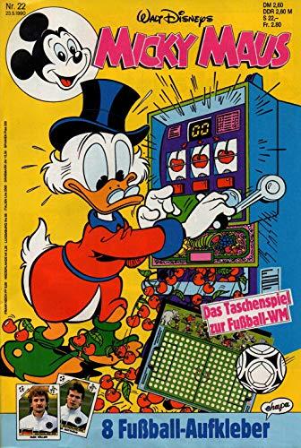 """Micky Maus Zeitschrift - Nr. 22 - Vom 23.05.1990 - Komplett mit den Heft-Extras \""""Das Taschenspiel zur Fußball-WM und 8 Panini Italia \'90 Fußball-Aufkleber\"""" - Heft, Magazin, Broschüre, Lektüre"""