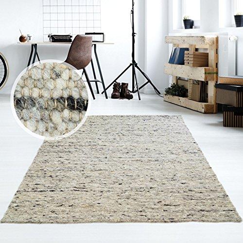Taracarpet Moderner Handweb Teppich Alpina handgewebt aus Schurwolle für Wohnzimmer, Esszimmer, Schlafzimmer und die Küche geeignet (090 x 160 cm, 30 Grau meliert)