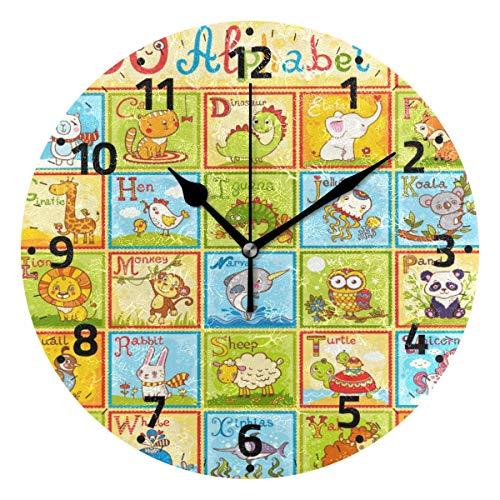 KUYJTHT Reloj de pared con diseño de animales del alfabeto de animales que no hace tictac, para dormitorio, cocina, sala de estar, escuela, oficina, 9.4 pulgadas