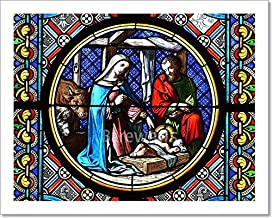 Barewalls Nativity Scene. Stained Glass Window Paper Print Wall Art (8in. x 10in.)