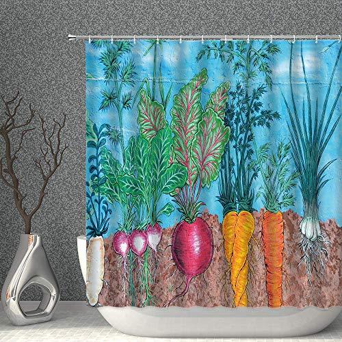 NJMRZX Farmland Duschvorhang Gemüse Rettich Karotten Grün Himmelblau Rot Dekor Stoff Badezimmer Gardinen 183 x 183 cm Polyester mit Haken