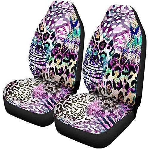 2 stuks autostoelhoezen African kleurrijke Animal Mix kat Cheetah Artistic Bright voor autostoelen, SUV limousine, vrachtwagen