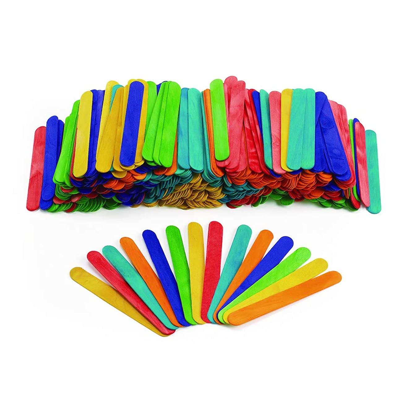 Colorations Large Colored Wood Craft Sticks Tongue Depressors, 500 Pieces, All Natural, 1mm Thick, 6