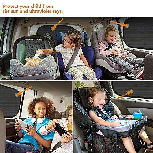MOBIUSPHY Sonnenschutz Auto Baby mit UV Schutz Selbsthaftende Sonnenblende Kinder Autosonnenblende Autofenster Sonnenschutzrollos Heckscheibe Schwarz fürs Auto 2er