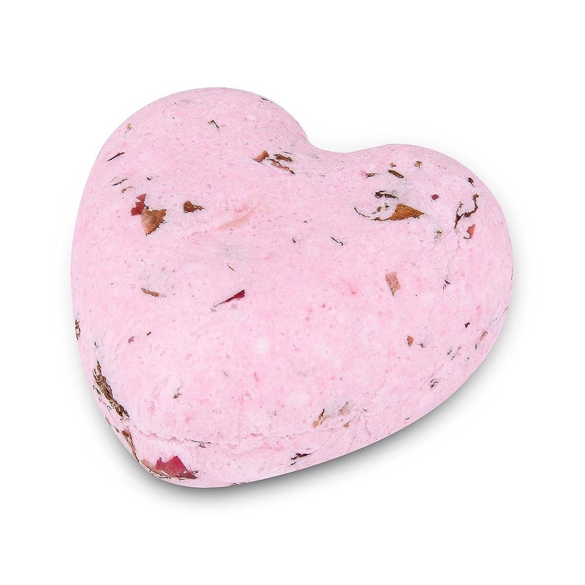銛火曜日枯れるHOUSWEETY ローズの香り ハート型 バスボム 炭酸入浴剤 入浴料 海塩 アロマオイル バスボール 1個入り