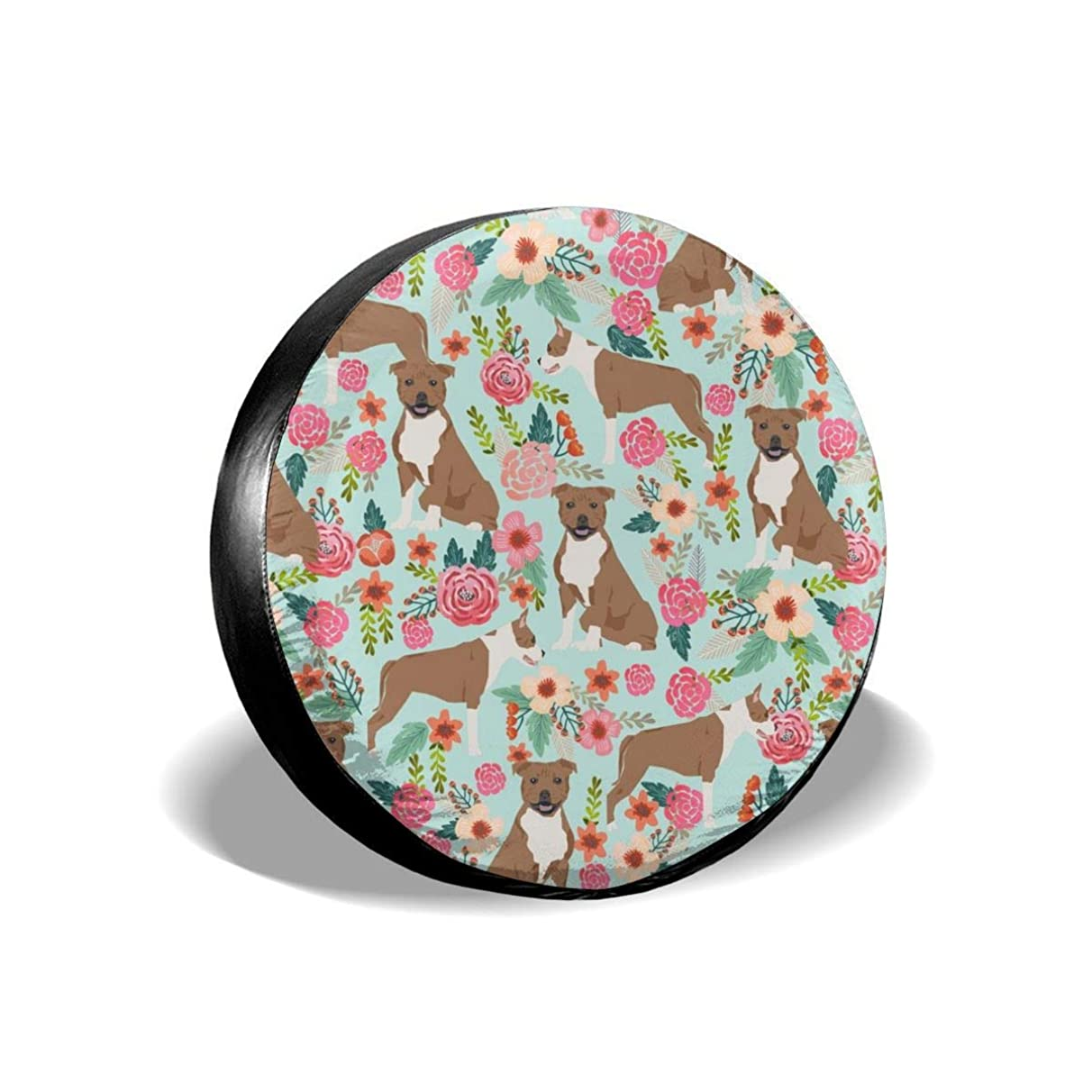 staffordshire terrier dog cute florals vintage flowers floral pet pets sweet smiling dogs Polyester Universal Spare Wheel Tire Cover Wheel Covers Jeep Trailer RV SUV Truck Camper Travel Trailer Access