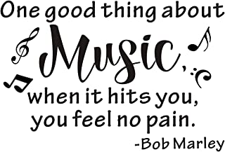 Everysticker4u One Good Thing About Music When it Hits You You Feel No Pain Bob Marley Mural Vinyl Art Phrase Saying Quote Sticker Wall Decals Words Lettering (Size2: 33